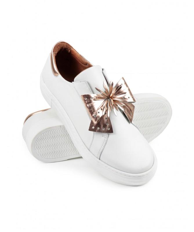 Sapatilhas Brancas de Senhora Ginova com Laço OuroRosa