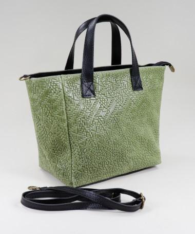 Mala Verde de Senhora em Pele com Textura