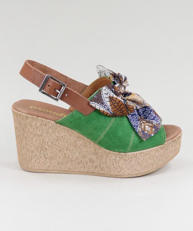 Sandálias Ginova de Cunha com Laço em Tecido