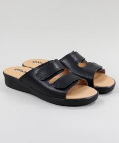 Chinelos Ortopédicos Pretos de Senhora com Velcro Ginova