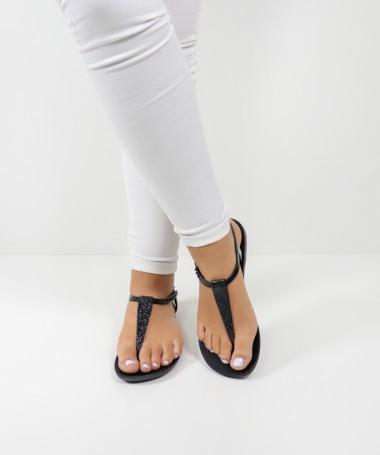 Sandálias Ipanema Pretas de Senhora com Glitter