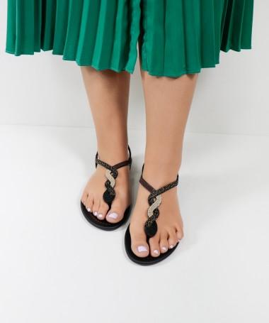 Sandálias Grendha Pretas com Tira Decorada