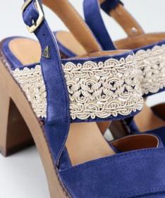 Sandálias Azuis de Senhora Ginova com Renda