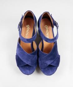 Sandálias Azuis de Senhora Ginova com Tiras Cruzadas