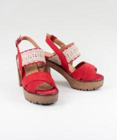 Sandálias Vermelhas  de Senhora Ginova com Renda