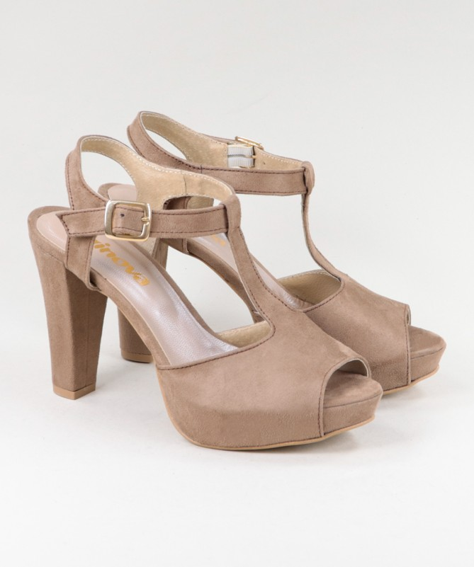 Sandálias Taupe de Senhora Ginova Elegantes