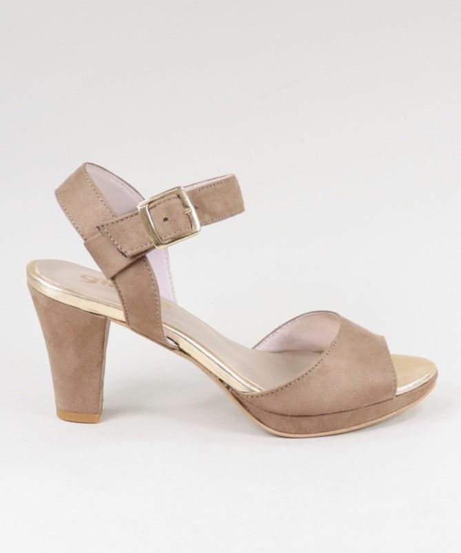 Sandálias Taupe de Senhora Ginova com Fivela