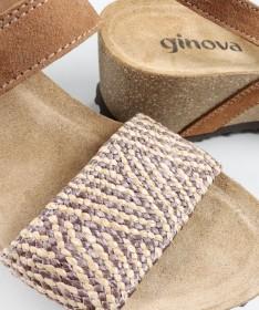 Sandálias Ginova de Cunha Camel com Palmilha Anatómica e Elástico