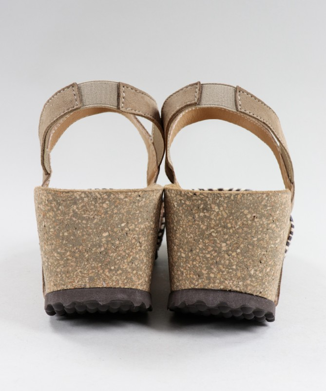 Sandálias Ginova de Cunha Taupe com Palmilha Anatómica e Elástico