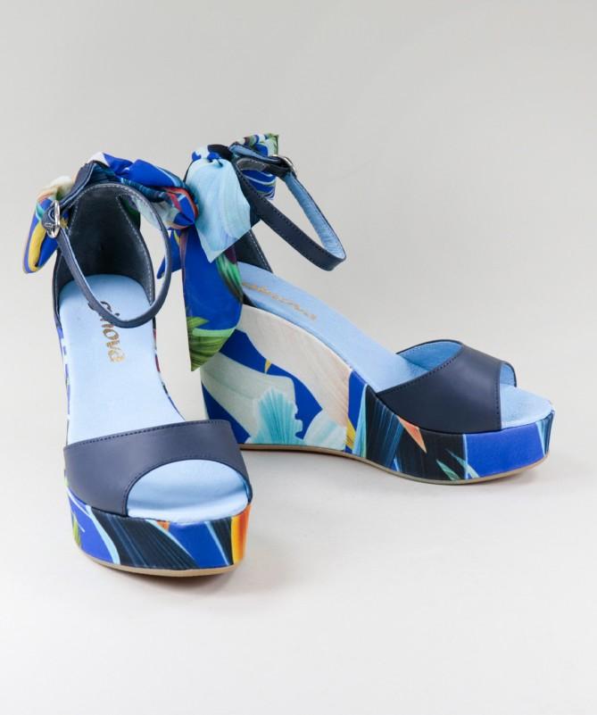 Sandálias Azuis de Senhora Ginova Floridas