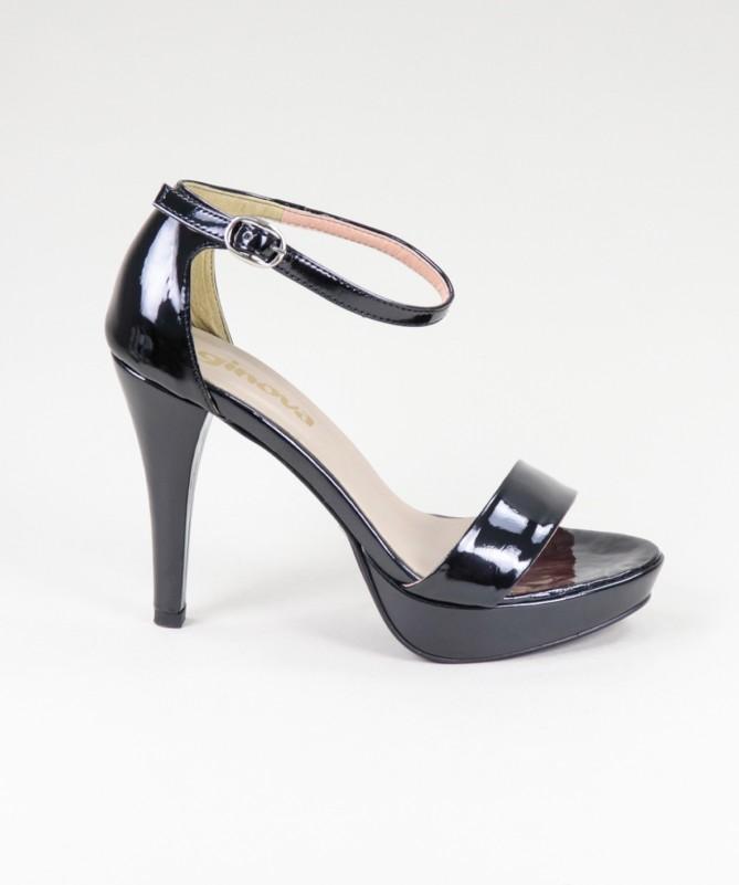 Sandálias Pretas Elegantes de Senhora Ginova