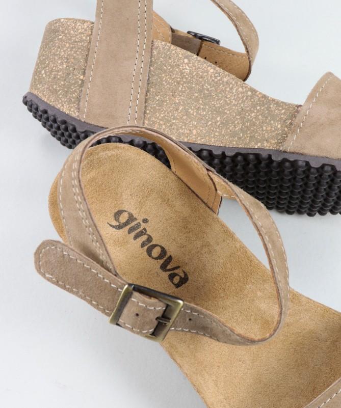 Sandálias Taupe de Senhora Ginova com Tira de Apertar