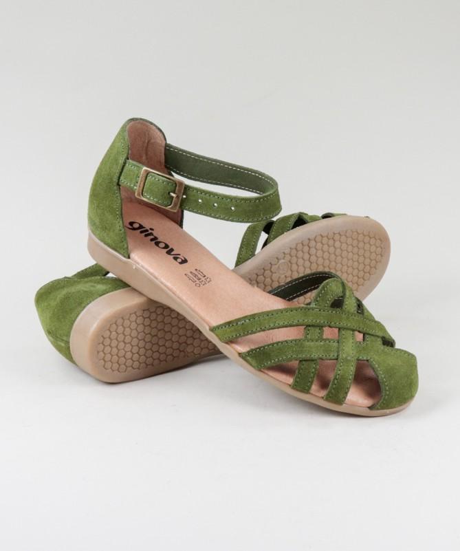 Sandálias Verdes  de Senhora Ginova em Camurça