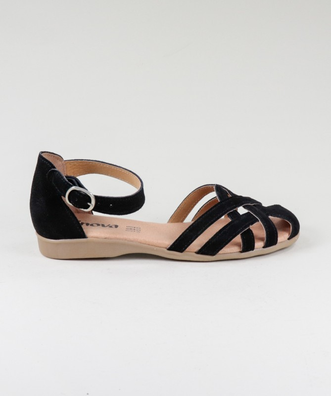 Sandálias Pretas  de Senhora Ginova em Camurça