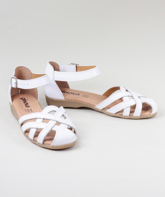 Sandálias Brancas de Senhora Ginova em Camurça