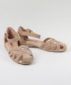 Sandálias Taupe  de Senhora Ginova em Camurça