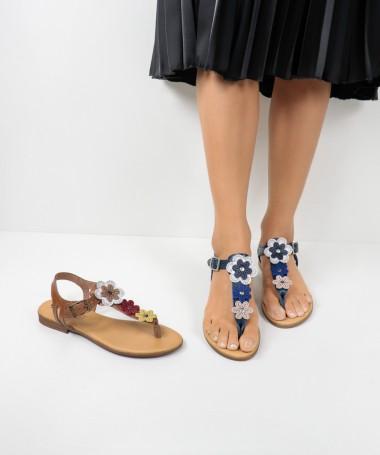Sandálias de Senhora com Flores na Tira