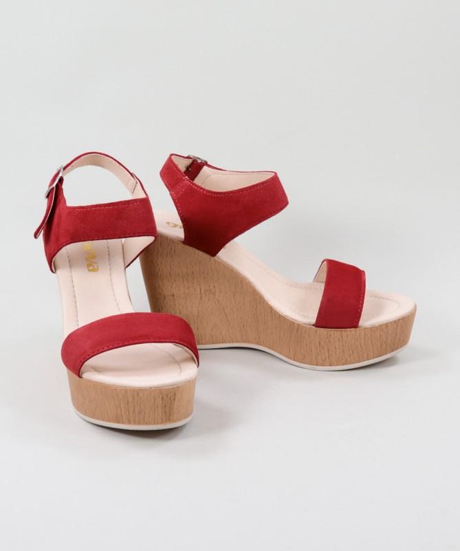 Sandálias Vermelhas de Senhora Ginova em Cunha