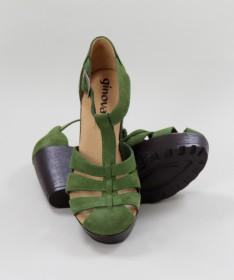 Sandálias Verde de Senhora Ginova em Camurça
