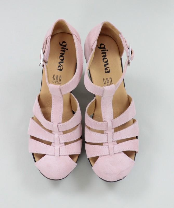 Sandálias Rosa de Senhora Ginova em Camurça