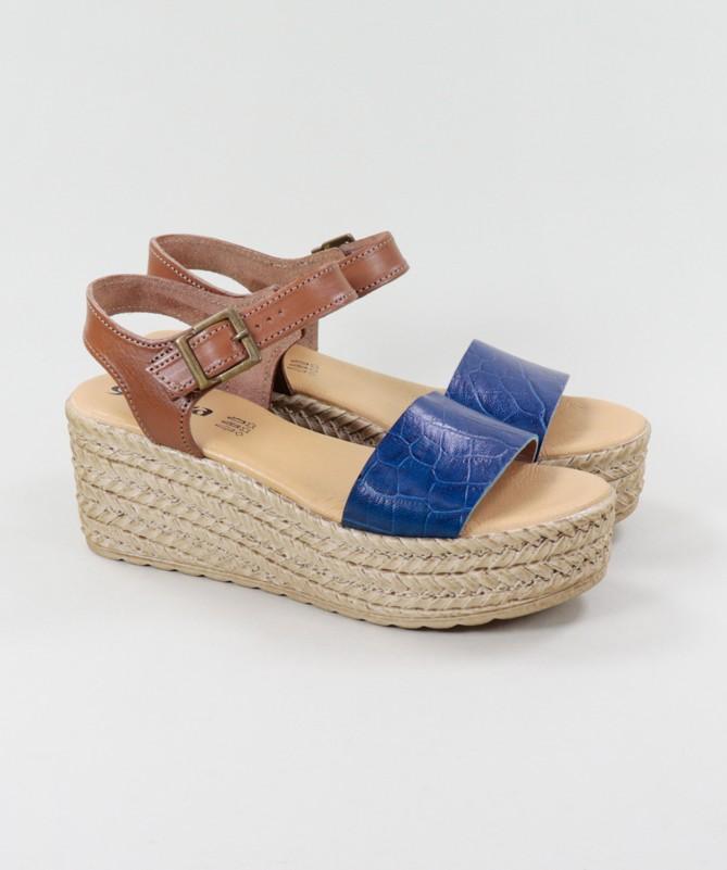Sandálias Azuis de Senhora Ginova Compensadas