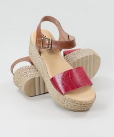 Sandálias Vermelho de Senhora Ginova Compensadas