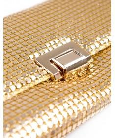 Pochete de Cerimónia em Malha de Metal Dourado