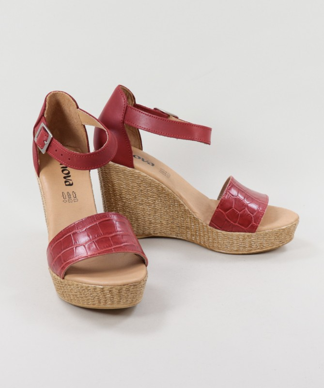 Sandálias Vermelhas de Senhora Ginova com Tira Gravada