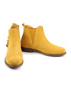 Botas Amarelas Rasas Femininas  Ginova Folhos