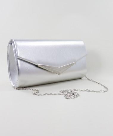 Pochete Prateada de Senhora Tipo Envelope