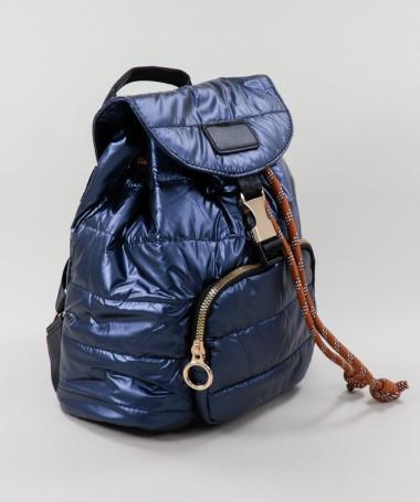Mochila Azul Acolchoada com Bolso