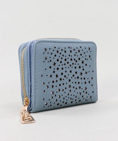 Carteira Feminina Azul com Estrelas e Bolas