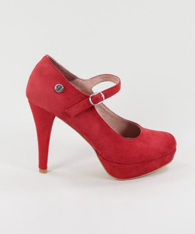 Sapatos Vermelhos Elegantes Ginova em Camurça
