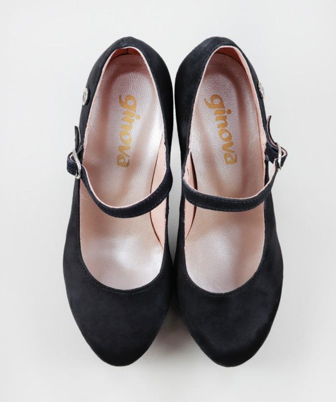Sapatos Pretos Elegantes Ginova em Camurça