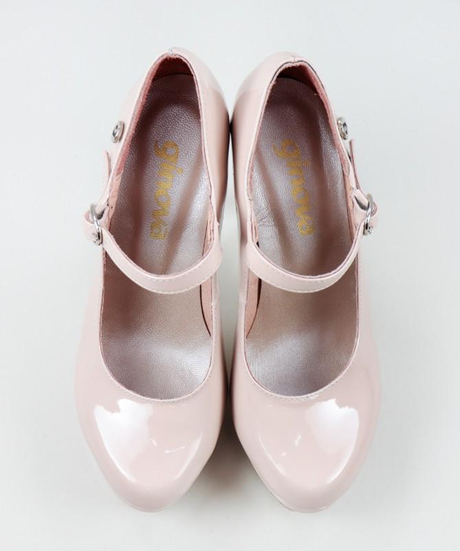 Sapatos Nude Elegantes Ginova em Camurça