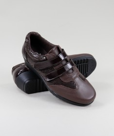 Sapatos Castanhos de Mulher de Velcro Ginova