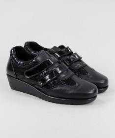 Sapatos Pretos de Mulher de Velcro Ginova