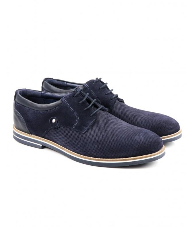Sapato Azul de Homem Ginova em Camurça
