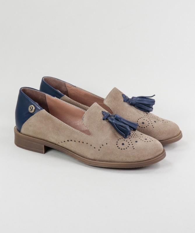 Sapatos Taupe e Azul Rasos de Senhora Ginova com Berloque