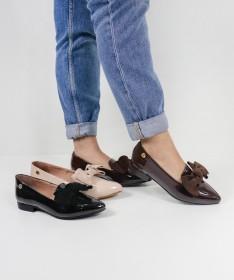 Sapatos Rasos Ginova Envernizados com Laço