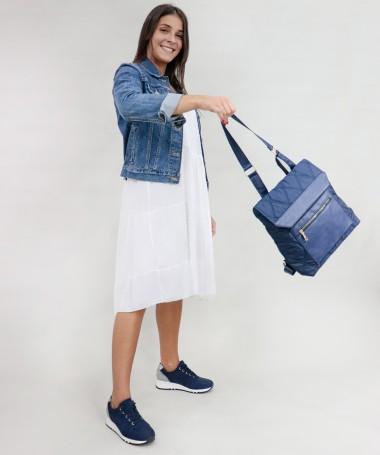 Mochila Azul de Senhora com Pala Decorativa