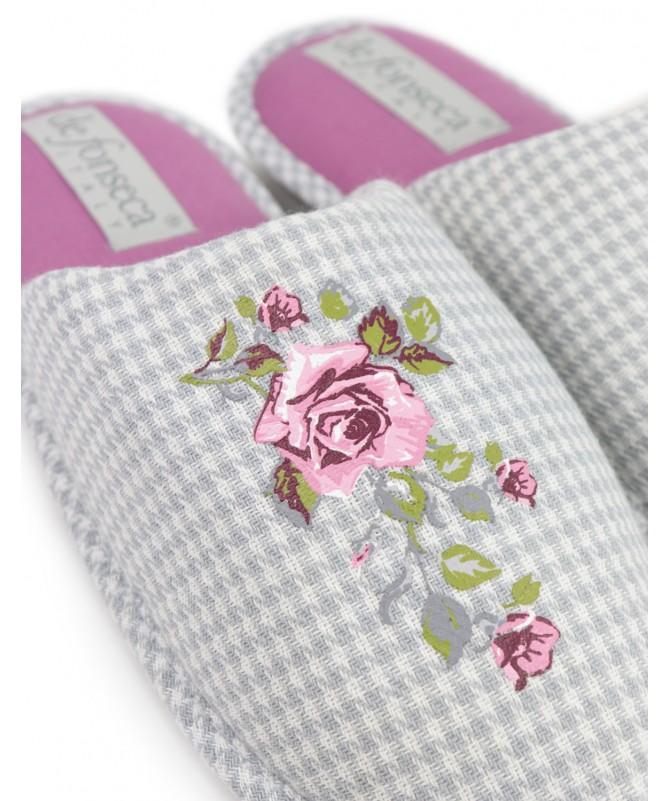 Chinelos de Quarto de Senhora DeFonseca Floral Cinza