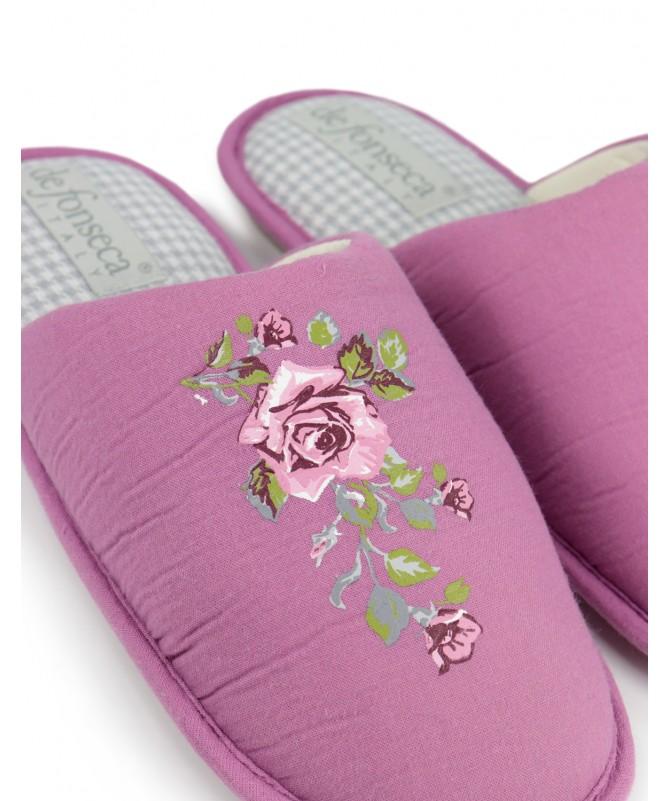 Chinelos de Quarto de Senhora DeFonseca Lilás Floral