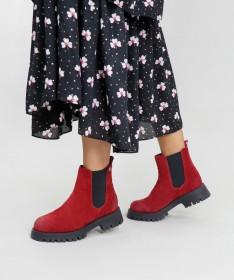 Botins Vermelhas de Mulher Ginova com Elástico