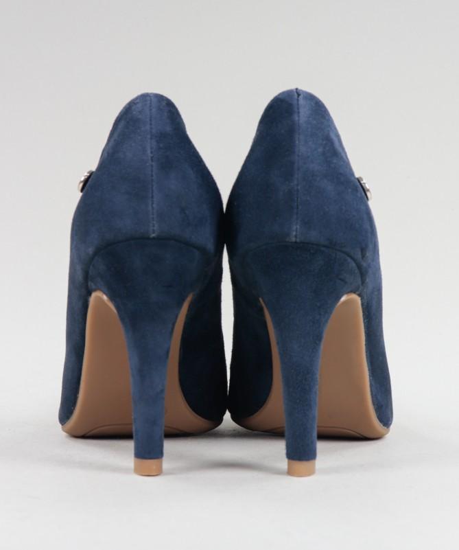 Stilettos Azuis de Senhora Ginova em Camurça