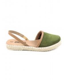 Sandálias Rasas de Senhora Ginova Verde com Esparto