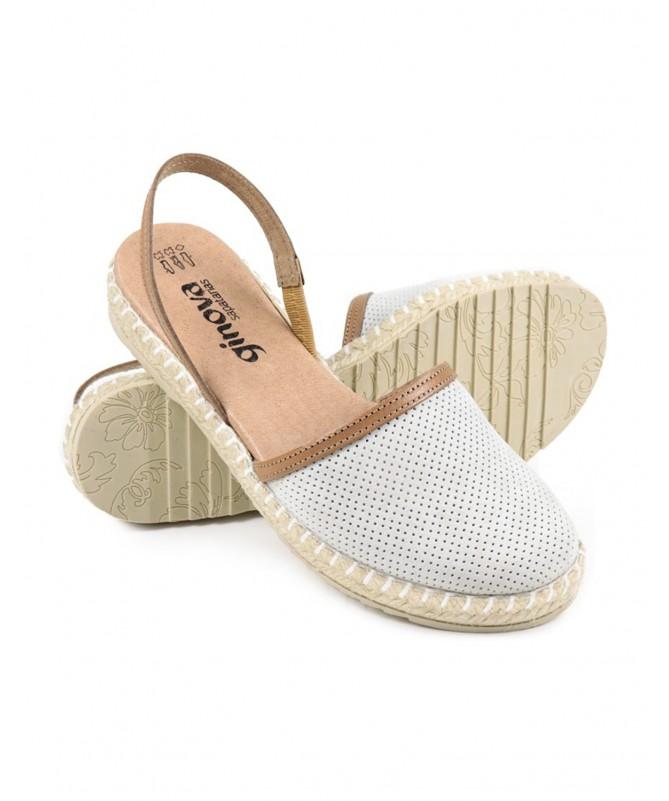 Sandálias Rasas de Senhora Ginova Branco com Esparto