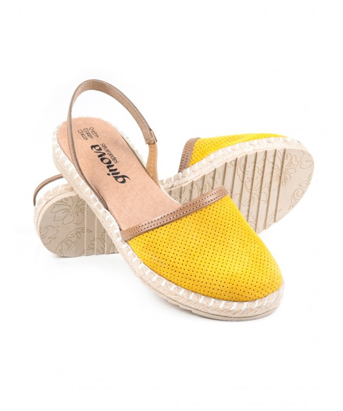 Sandálias Rasas de Senhora Ginova Amarelo com Esparto