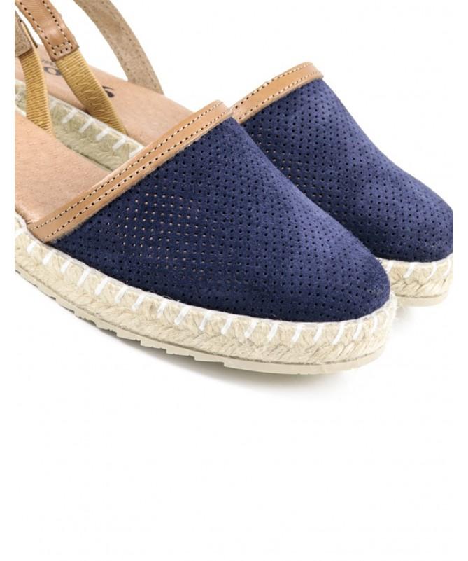 Sandálias Rasas de Senhora Ginova Azul com Esparto
