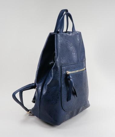 Mochila Azul Feminina com Fecho Frontal
